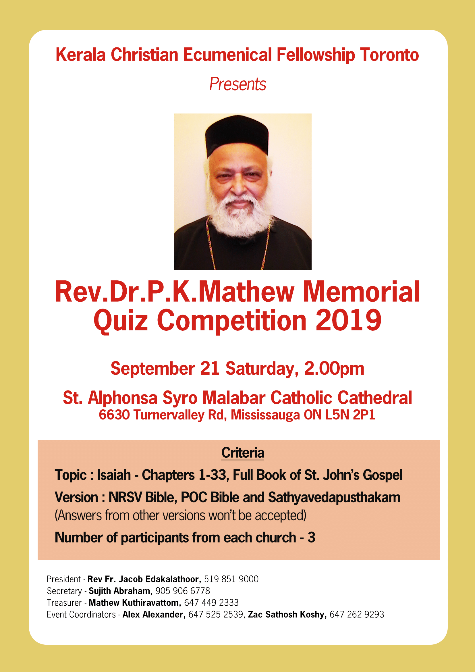 Bible Quiz Competition 2019